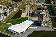 Nederland, Noord-Holland, Amsterdam, 09-04-2014; Amsterdam-Noord, Buiksloterham met filmmuseum Eye en Overhoeks.<br /> Developement of former industrial area and docklands.<br /> luchtfoto (toeslag op standard tarieven);<br /> aerial photo (additional fee required);<br /> copyright foto/photo Siebe Swart