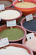 At the 5-day-market. Lentils, beans and other seeds.