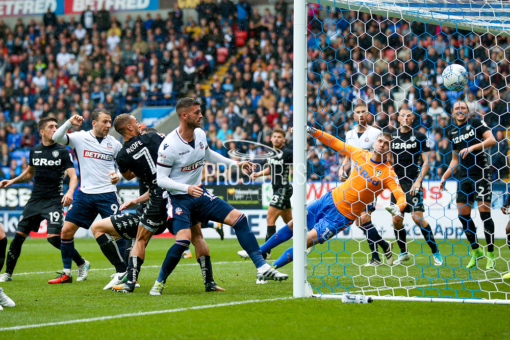 Bolton Wanderers striker Gary Madine (14) scores a goal  to make the score 1-2 during the EFL Sky Bet Championship match between Bolton Wanderers and Leeds United at the Macron Stadium, Bolton, England on 6 August 2017. Photo by Simon Davies.
