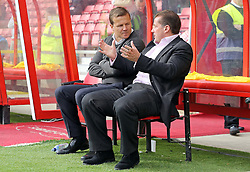 Peterborough United Manager Graham Westley talks with Swindon Town Manager Mark Cooper before kick-off - Mandatory byline: Joe Dent/JMP - 07966 386802 - 10/10/2015 - FOOTBALL - County Ground - Swindon, England - Swindon Town v Peterborough United - Sky Bet League One