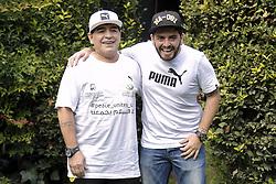 Diego Armando Maradona mit Sohn Diego Jr bei einer Pressekonferenz zum Benefiz-Fussball-Event Spiel f¸r den Frieden am 12. Oktober 2016 in Rom / 101016 <br /> <br /> ***Match of Peace: United For Peace' photocall, Rome, Italy on october 10, 2016***
