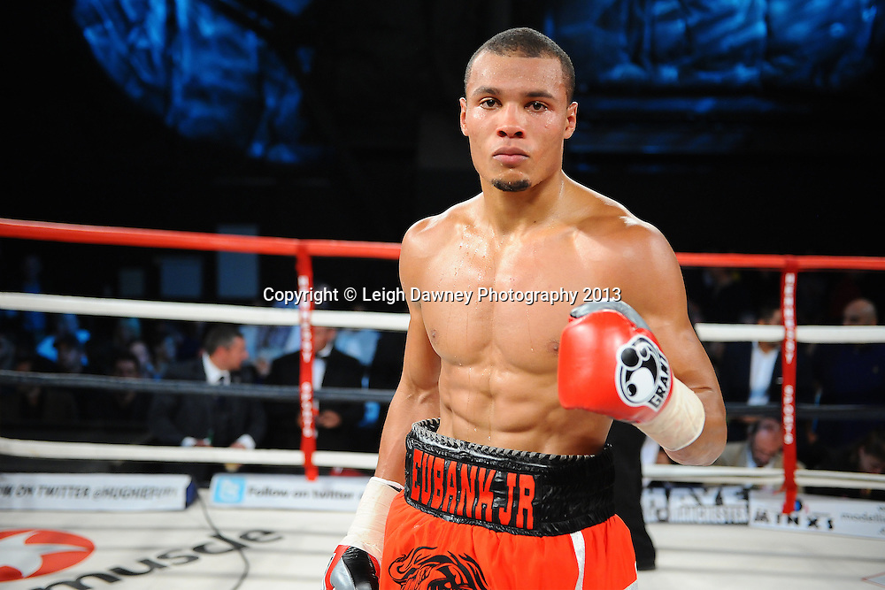 Chris Eubank Jnr defeats Alexy Ribchev in round three of a middleweight contest on Saturday 14th September 2013 at the Magna Centre, Rotherham. Hennessy Sports. Self billing applies. © Credit: Leigh Dawney Photography.