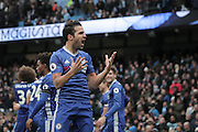 Chelsea's Cesc Fabregas celebrates following Chelsea's Eden Hazard scoring the forth goal of the game to make the score 3-1 during the Premier League match between Manchester City and Chelsea at the Etihad Stadium, Manchester, England on 3 December 2016. Photo by Simon Brady.
