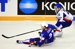 Mitja Robar of Slovenia and Frantisek Skladany of Slovakia at ice-hockey game Slovenia vs Slovakia at second game in  Relegation  Round (group G) of IIHF WC 2008 in Halifax, on May 10, 2008 in Metro Center, Halifax, Nova Scotia, Canada. Slovakia won after penalty shots 4:3.  (Photo by Vid Ponikvar / Sportal Images)