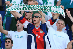 Fans of Olimpija Green Dragons celebrate at final match of 2nd SNL league between NK Olimpija in NK Aluminij, on May 23, 2009, ZAK, Ljubljana, Slovenia. Aluminij won 2:1. NK Olimpija is a Champion of 2nd SNL and thus qualified to 1st Slovenian football league for season 2009/2010. (Photo by Vid Ponikvar / Sportida)