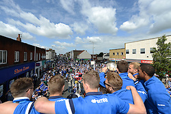 Bristol Rovers Players show off the Vanarama Conference Play-Off final trophy during a bus tour - Photo mandatory by-line: Dougie Allward/JMP - Mobile: 07966 386802 - 25/05/2015 - SPORT - Football - Bristol - Bristol Rovers Bus Tour