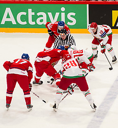 03.05.2013, Globe Arena, Stockholm, SWE, IIHF, Eishockey WM, Tschechische Republik vs Weissrussland, im Bild Face off // during the IIHF Icehockey World Championship Game between Czech Republic and Belarus at the Ericsson Globe, Stockholm, Sweden on 2013/05/03. EXPA Pictures © 2013, PhotoCredit: EXPA/ PicAgency Skycam/ Johan Andersson..***** ATTENTION - OUT OF SWE *****