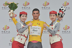September 15, 2017 - Chenghu City, China - Liam Bertazzo from Wilier Triestina-Selle Italia team keeps the Race Leader Yellow Jersey after the fourth stage of the 2017 Tour of China 1, the 3.3 km Chenghu Jintang individual time trial. .On Friday, 15 September 2017, in Jintang County, Chenghu City,  Sichuan Province, China. (Credit Image: © Artur Widak/NurPhoto via ZUMA Press)