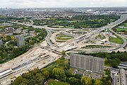 Nederland, Zuid-Holland, Schiedam, 23-10-2013; aanleg van de verlengde A4 (A4 Delft-Schiedam). Bouw landtunnel, rechts Kethelplein. A20 vlnr.<br /> Construction land tunnel of the extended A4 (A4 Delft-Schiedam) between Vlaardingen and Schiedam.<br /> luchtfoto (toeslag op standaard tarieven);<br /> aerial photo (additional fee required);<br /> copyright foto/photo Siebe Swart.
