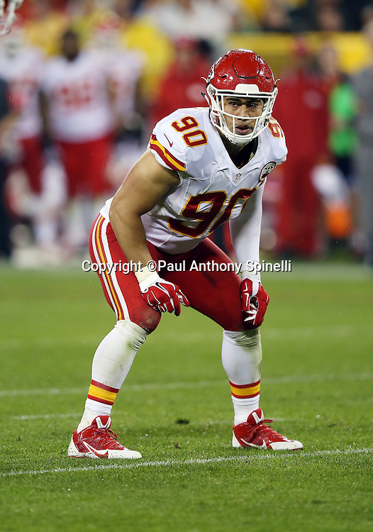 Kansas City Chiefs inside linebacker Josh Mauga (90) gets set for the snap during the 2015 NFL week 3 regular season football game against the Green Bay Packers on Monday, Sept. 28, 2015 in Green Bay, Wis. The Packers won the game 38-28. (©Paul Anthony Spinelli)