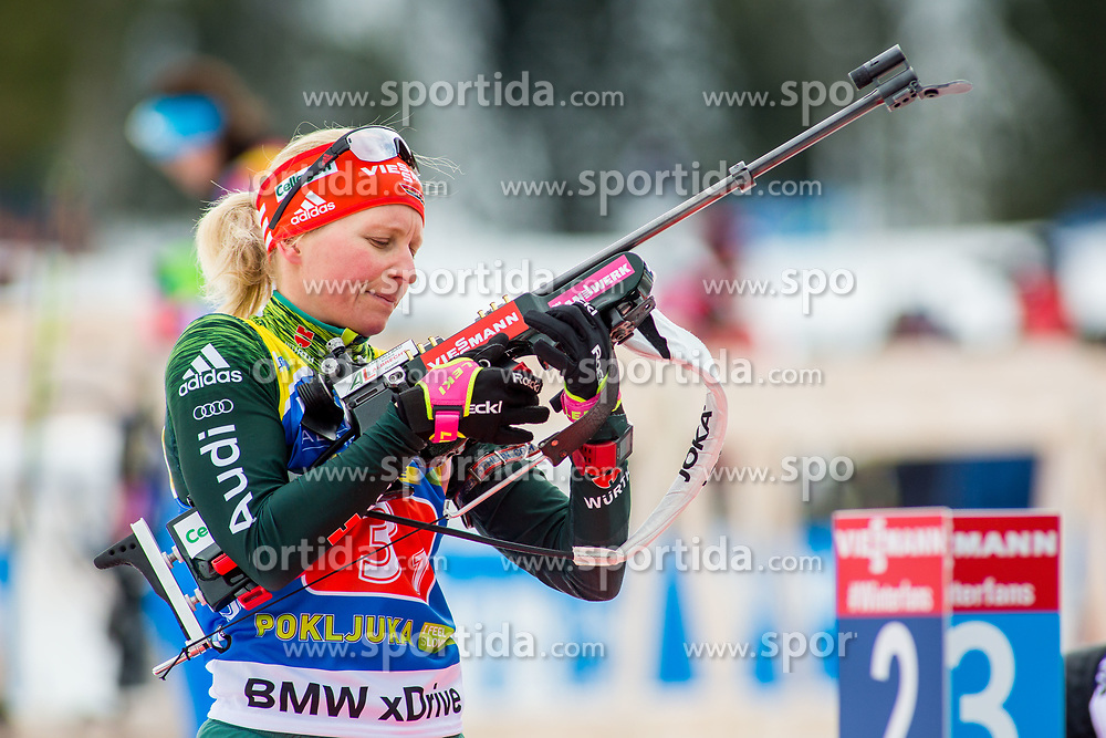 Franziska Hildebrand (GER) during Single Mixed Relay at day 1 of IBU Biathlon World Cup 2018/19 Pokljuka, on December 2, 2018 in Rudno polje, Pokljuka, Pokljuka, Slovenia. Photo by Ziga Zupan / Sportida