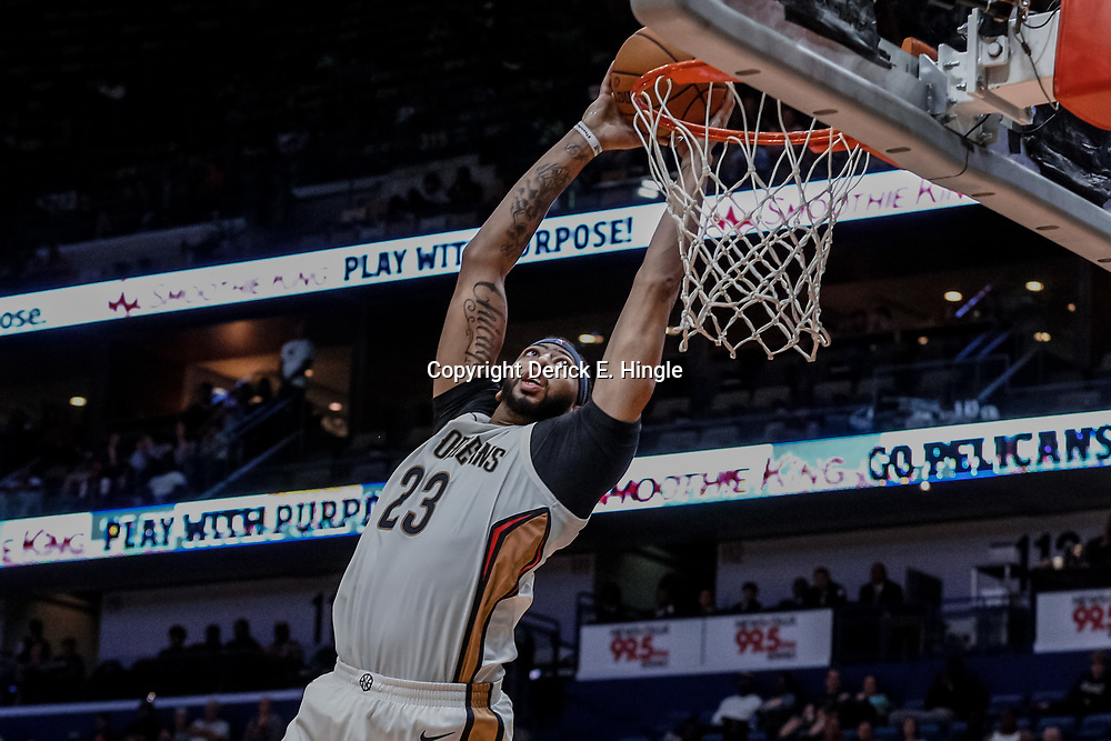 Oct 3, 2017; New Orleans, LA, USA; New Orleans Pelicans forward Anthony Davis (23) dunks against the Chicago Bulls during the second half of a NBA preseason game at the Smoothie King Center. The Bulls defeated the Pelicans 113-109. Mandatory Credit: Derick E. Hingle-USA TODAY Sports