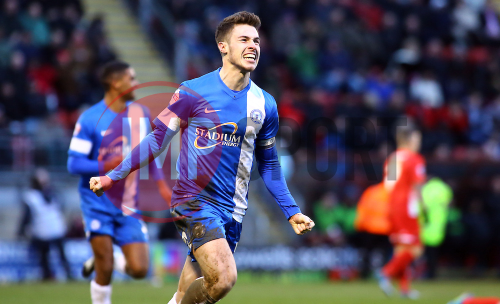 Peterborough United's Tommy Rowe celebrates scoring the winning goal - Photo mandatory by-line: Joe Dent/JMP - Tel: Mobile: 07966 386802 08/02/2014 - SPORT - FOOTBALL - Leyton - Brisbane Road - Leyton Orient v Peterborough United - Sky Bet League One