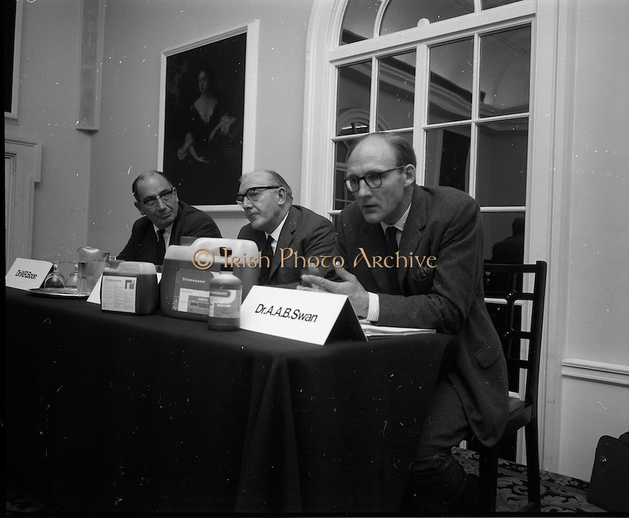 17/07/1970<br /> 07/17/1970<br /> 17 July 1970<br /> I.C.I. Press Conference regarding Paraquat weedkiller at the Royal Hibernian Hotel, Dublin. The conference was part of a campaign, in consultation with the Department of Health, to warn the public of the dangers of decanting the weedkiller into other containers such as unlabelled bottles. This had been the cause of a number of deaths over the previous 8 years as people mistook the chemical for beer, whiskey or cordial. The company planned to write to all 267,000 farmers in the Republic to warn of the dangers of the practice. Image shows Dr. A.A. Swan, Director, I.C.I. Industrial Hygiene Laboratories speaking at the event. Also in the picture are Dr. W.R. Boon (left) Joint Managing Director, Plant Protection Ltd. and Mr Stanley Magee (centre) Manager Agro-chemicals Division, I.C.I (Ireland) Ltd.