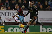 Burnley forward Andre Gray  crosses the ball during the Sky Bet Championship match between Burnley and Nottingham Forest at Turf Moor, Burnley, England on 23 February 2016. Photo by Simon Davies.