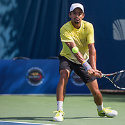 August 16, 2014, New Haven, CT:<br /> Sanam Singh hits a backhand during the 2014 US Open National Playoffs Men's final match against Jeff Dadamo on day four of the 2014 Connecticut Open at the Yale University Tennis Center in New Haven, Connecticut Monday, August 18, 2014.<br /> (Photo by Billie Weiss/Connecticut Open)