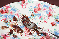 Fork and cake crumbs on plate, close-up