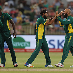 Imran Tahir of the (South African Proteas) with Hashim Amla of the (South African Proteas) during the 2nd ODI Momentum One-Day International (ODI) series South African and Sri Lanka at Kingsmead, Durban, South Africa.1st February 2017 - (Photo by Steve Haag)