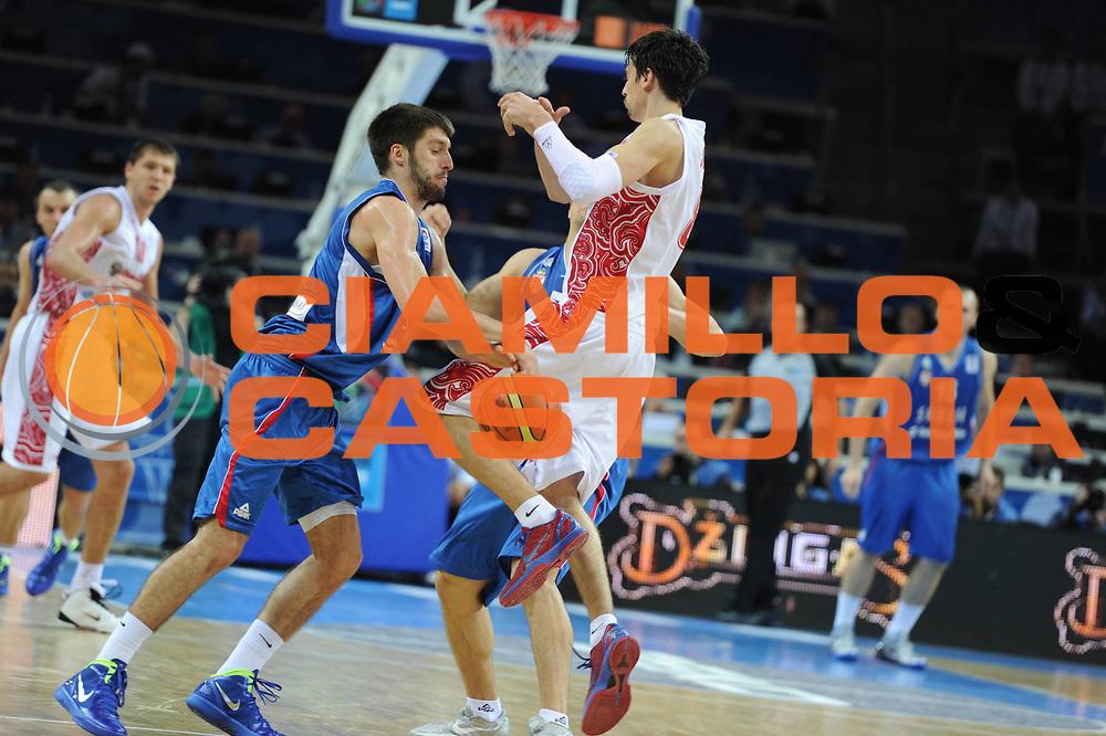 DESCRIZIONE : Kaunas Lithuania Lituania Eurobasket Men 2011 Quarter Final Round Russia Serbia<br /> GIOCATORE : Stefan Markovic<br /> CATEGORIA : blocco difesa<br /> SQUADRA : Serbia<br /> EVENTO : Eurobasket Men 2011<br /> GARA : Russia Serbia<br /> DATA : 15/09/2011<br /> SPORT : Pallacanestro <br /> AUTORE : Agenzia Ciamillo-Castoria/GiulioCiamillo<br /> Galleria : Eurobasket Men 2011<br /> Fotonotizia : Kaunas Lithuania Lituania Eurobasket Men 2011 Quarter Final Round Russia Serbia<br /> Predefinita :