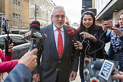 © Licensed to London News Pictures. 10/12/2018. London, UK.  Entrepreneur, Vijay Mallya arrives at  Westminster Magistrates Court to hear senior district judge Emma Arbuthnot return her decision on whether Mallya, the chairman of United Breweries Group and co-owner of the Force India F1 team should be extradited over allegations of fraud.  Photo credit: Vickie Flores/LNP