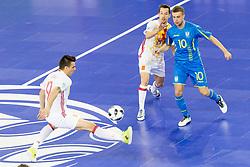 Lin of Spain and Serhiy Zhurba of Ukraine during futsal quarterfinal match between National teams of Ukraine and Spain at Day 8 of UEFA Futsal EURO 2018, on February 6, 2018 in Arena Stozice, Ljubljana, Slovenia. Photo by Urban Urbanc / Sportida