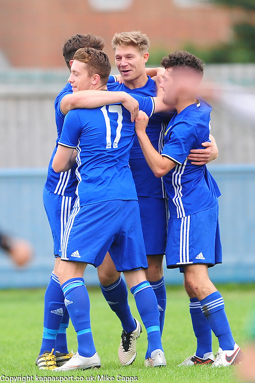 MARK JONES  PETERBOROUGH SPORTS FC, CELEBRATES HIS GOAL PETERBOROUGHS FIRST, Peterborough Sports FC v Newport Pagnell FC Ucl Premier Division League Saturday 17th September 2016 Score 3-1<br /> Photo:Mike Capps