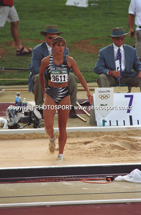 New Zealand athlete Chantal Brunner competes in the womens long jump at the Atlanta Olympics, 1996. PHOTO: Andrew Cornaga/PHOTOSPORT