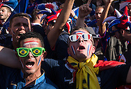French fans gather outside the stadium before the 2014 FIFA World Cup Group E match at Maracana Stadium, Rio de Janeiro<br /> Picture by Andrew Tobin/Focus Images Ltd +44 7710 761829<br /> 25/06/2014