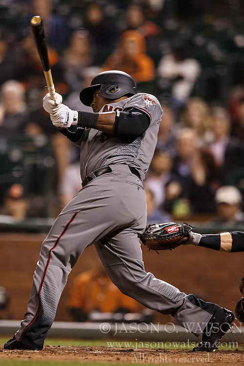 SAN FRANCISCO, CA - APRIL 18: Rickie Weeks #5 of the Arizona Diamondbacks at bat against the San Francisco Giants during the eighth inning at AT&T Park on April 18, 2016 in San Francisco, California. The Arizona Diamondbacks defeated the San Francisco Giants 9-7 in 11 innings.  (Photo by Jason O. Watson/Getty Images) *** Local Caption *** Rickie Weeks