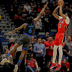 Dec 5, 2018; New Orleans, LA, USA; New Orleans Pelicans forward Anthony Davis (23) shoots over Dallas Mavericks center DeAndre Jordan (6) during the first quarter at the Smoothie King Center. Mandatory Credit: Derick E. Hingle-USA TODAY Sports