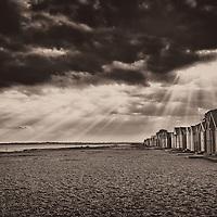 Mersea Island beach huts in Essex, England