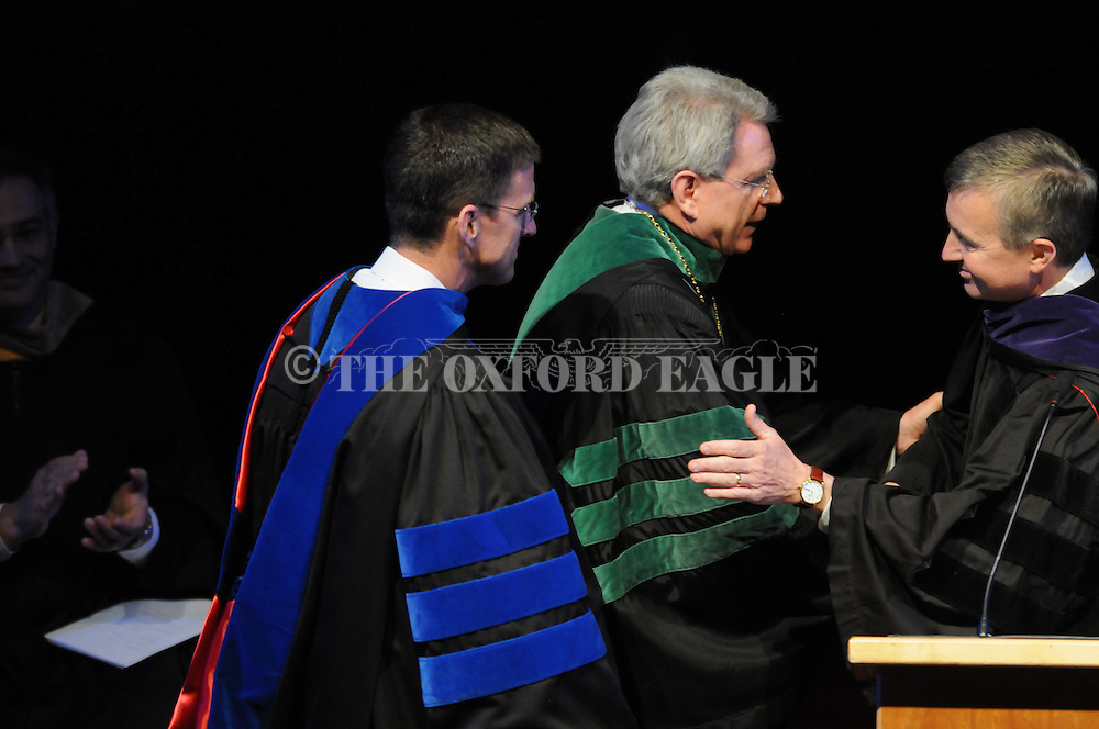 University of Mississippi Chancellor Dan Jones with Hank Bounds, commissioner of higher learning, at the inauguration ceremony at the Gertrude Ford Center on Friday, April 9, 2010 in Oxford, Miss. Jones is the 16th chancellor in the university's history.