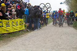 Peloton with Marcel Sieberg of Bahrain Merida (BAH,WT,Merida) on cobblestone sector 26 during the 2019 Paris-Roubaix (1.UWT) with 257 km racing from Compiègne to Roubaix, France. 14th April 2019. Picture: Thomas van Bracht | Peloton Photos<br /> <br /> All photos usage must carry mandatory copyright credit (Peloton Photos | Thomas van Bracht)