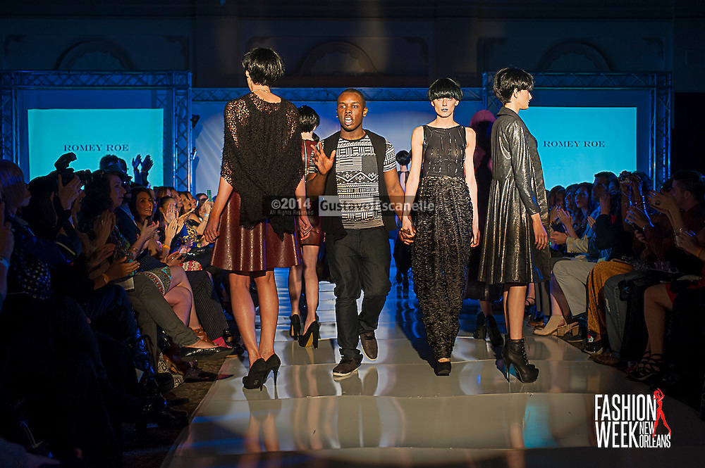 FASHION WEEK NEW ORLEANS: Designer Romey Roe show case his design on the runway at the Board of Trade, Fashion Week New Orleans on Wednesday March 19. 2014. #FWNOLA, #FashionWeekNOLA, #Design #FashionWeekNewOrleans, #NOLA, #Fashion #BoardofTrade, #GustavoEscanelle, #TraceeDundas , #romeyRoe, #DominiqueWhite . View more photos at <br /> http://Gustavo.photoshelter.com.