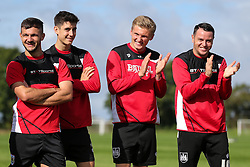 Taylor Moore and Lee Tomlin look on as Bristol City play Football Darts from Bristol Bubble Ball Ltd after training - Rogan Thomson/JMP - 30/09/2016 - FOOTBALL - Failand Training Ground - Bristol, England.