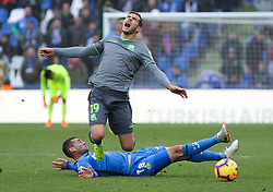 December 15, 2018 - Getafe, Madrid, Spain - Theo Hernandez of Real Sociedad and Cristoforo of Getafe in action during La Liga Spanish championship, , football match between Getafe and Real Sociedad, December 15, in Coliseum Alfonso Perez in Getafe, Madrid, Spain. (Credit Image: © AFP7 via ZUMA Wire)