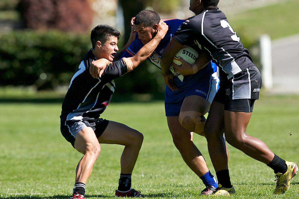 William Rogers-Hoff of the Giants is tackled during the preaseason Rugby league game between the Wakatipu Giants and Hornby U18s at the Jack Reid Park, Arrowtown, New Zealand. Saturday, March 17, 2012. Credit:Teaukura Moetaua / Media Sport