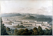 New Lanark Mills, Scotland. Robert Owen's (1771-1858) model community of cotton mills, housing, education, world's first day nursery, evening classes, village shop (beginning of Co-operative movement). Aquatint c1815.