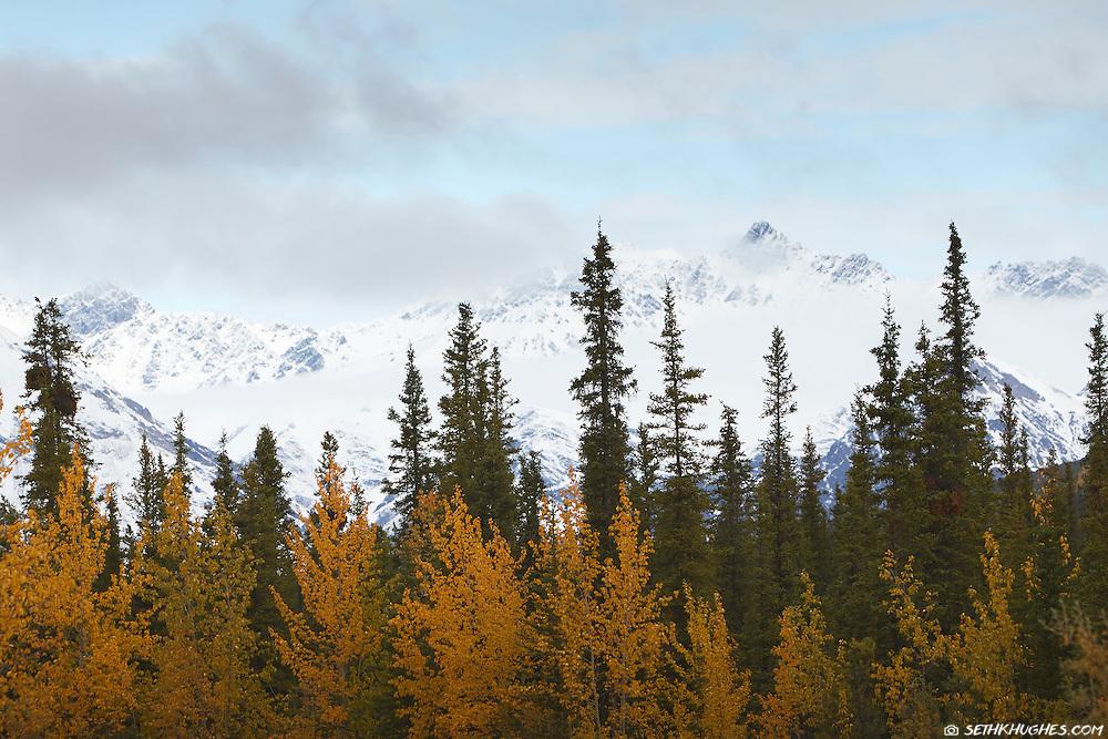 Autumn snow and dramatic mountain peaks in Wrangell St. Elias National Park, Alaska.