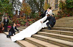 Princess Eugenie arrives with her father, the Duke of York, for her wedding to Jack Brooksbank at St George's Chapel in Windsor Castle.