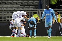 FOOTBALL - FRENCH CHAMPIONSHIP 2010/2011 - L1 - OLYMPIQUE LYONNAIS v OLYMPIQUE MARSEILLE - 8/05/2011 - PHOTO JEAN MARIE HERVIO / DPPI - JOY LYON AFTER CESAR DELGADO'S GOAL