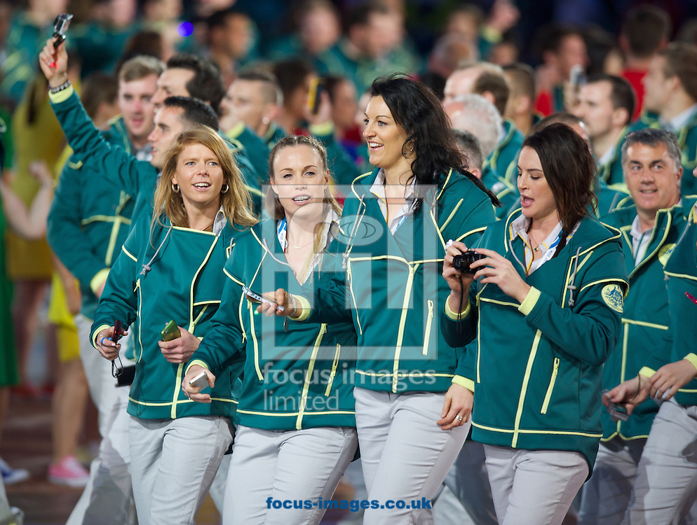 Australian team members during the Glasgow 2014 Commonwealth Games Opening Ceremony at Celtic Park, Glasgow<br /> Picture by Alan Stanford/Focus Images Ltd +44 7915 056117<br /> 23/07/201