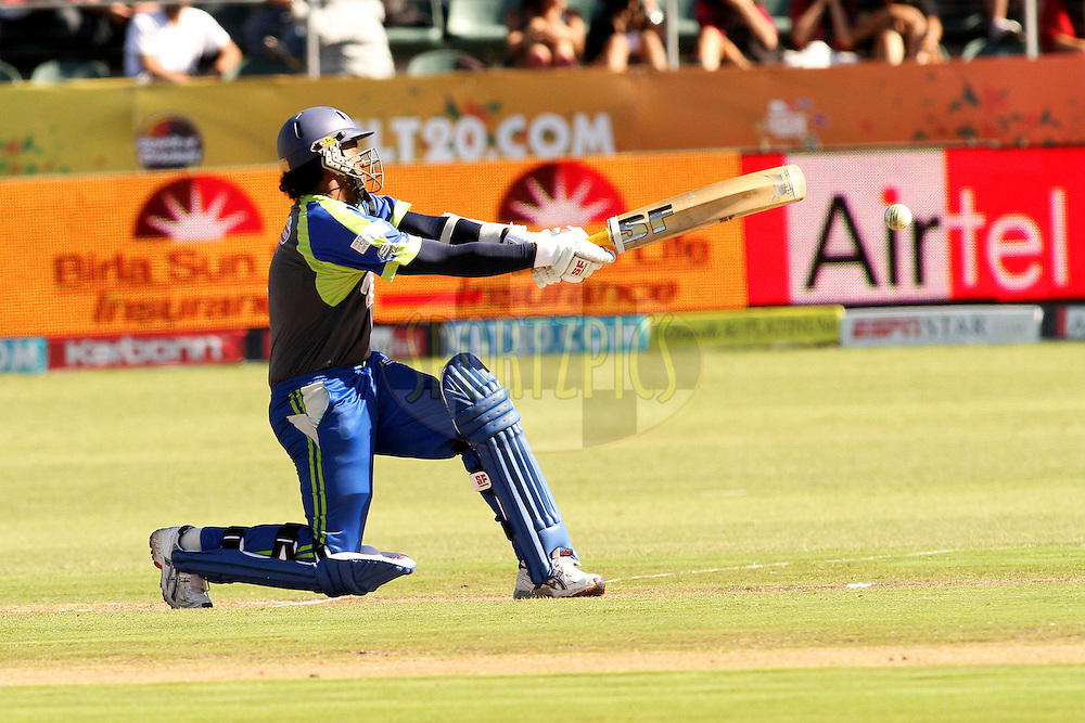 Shalika Karunanayake of Wayamba Elevens pulls a delivery during match 19 of the Airtel CLT20 between The Wayamba Elevens and Central Stags held at St Georges Park in Port Elizabeth on the 22 September 2010..Photo by: Shaun Roy/SPORTZPICS/CLT20