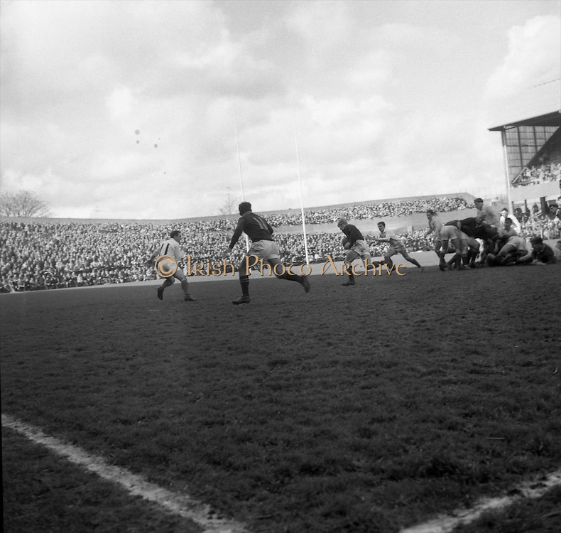 Springbok back line in action, Engelbrecht, with ball, is chased by Flynn, Irish left wing, with Dirksen 11, looking for a pass on the left,..Irish Rugby Football Union, Ireland v South Africa, Tour Match, Landsdowne Road, Dublin, Ireland, Saturday 10th April, 1965,.10.4.1965, 4.10.1965,..Referee- P G Brook, Rugby Football Union, ..Score- Ireland 9 - 6 South Africa, ..Irish Team, ..T J Kiernan,  Wearing number 15 Irish jersey, Full Back, Cork Constitution Rugby Football Club, Cork, Ireland,..P J McGrath,  Wearing number 14 Irish jersey, Right Wing, University college Cork Rugby Football Club, Cork, Ireland,  ..J C Walsh,  Wearing number 13 Irish jersey, Right Centre, University college Cork Rugby Football Club, Cork, Ireland,..M K Flynn, Wearing number 12 Irish jersey, Left Centre, Wanderers Rugby Football Club, Dublin, Ireland, ..K J Houston, Wearing number 11 Irish jersey, Left Wing, Bruff Rugby Football Club, Limerick, Ireland, and, Oxford University Rugby Footabll Club, Oxford, England, ..C M H Gibson, Wearing number 10 Irish jersey, Stand Off, Cambridge University Rugby Football Club, Cambridge, England, and, N.I.F.C, Rugby Football Club, Belfast, Northern Ireland,..R M Young, Wearing number 9 Irish jersey, Scrum Half, Queens University Rugby Football Club, Belfast, Northern Ireland,..S MacHale, Wearing number 1 Irish jersey, Forward, Landsdowne Rugby Football Club, Dublin, Ireland, ..K W Kennedy, Wearing number 2 Irish jersey, Forward, Queens University Rugby Football Club, Belfast, Northern Ireland,..R J McLoughlin, Wearing number 3 Irish jersey, Captain of the Irish team, Forward, Gosforth Rugby Football Club, Newcastle, England, ..W J McBride, Wearing number 4 Irish jersey, Forward, Ballymena Rugby Football Club, Antrim, Northern Ireland,..W A Mulcahy, Wearing number 5 Irish jersey, Forward, Bective Rangers Rugby Football Club, Dublin, Ireland,  ..M G Doyle, Wearing number 6 Irish jersey, Forward, University College Dublin Rugby Football Club, Dublin, Irela