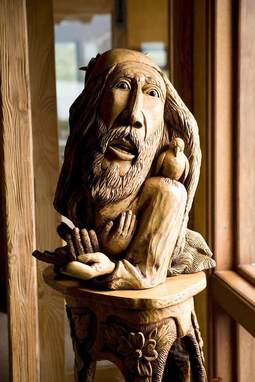 Carving at the Yan Kee Way Lodge, Ensenada, Chile