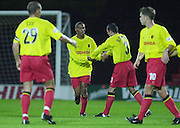 ©  SportsBeat Images  020 8 392 6656.email images@sportsbeat.co.uk.Football - Worthington Cup 9/10/01.Watford v Bradford:.Micah Hyde, is congratulated by his team mates for the first goal... ...........