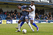 Southend United forward Jamar Loza and Gillingham defender Deji Oshilaja during the Sky Bet League 1 match between Southend United and Gillingham at Roots Hall, Southend, England on 19 March 2016. Photo by Martin Cole.