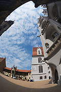 MEISSEN, GERMANY - MAY 22, 2010: View to the blue sky with clouds from the inner yard of the Albrechtsburg castle in Meissen, Germany. Filmed with a fish-eye lens.