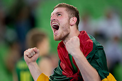 Dovydas Redikas of Lithuania celebrate victory during basketball match between National teams of Serbia and Lithuania in semifinal of U20 Men European Championship Slovenia 2012, on July 21, 2012 in SRC Stozice, Ljubljana, Slovenia. Lithuania defeated Serbia 73-68. (Photo by Matic Klansek Velej / Sportida.com)