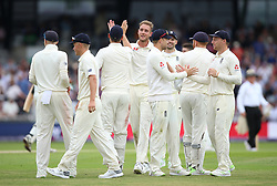 England celebrate victory over Pakistan during day three of the Second NatWest Test match at Headingley, Leeds.